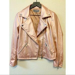 Faux Leather Blush Moto Jacket